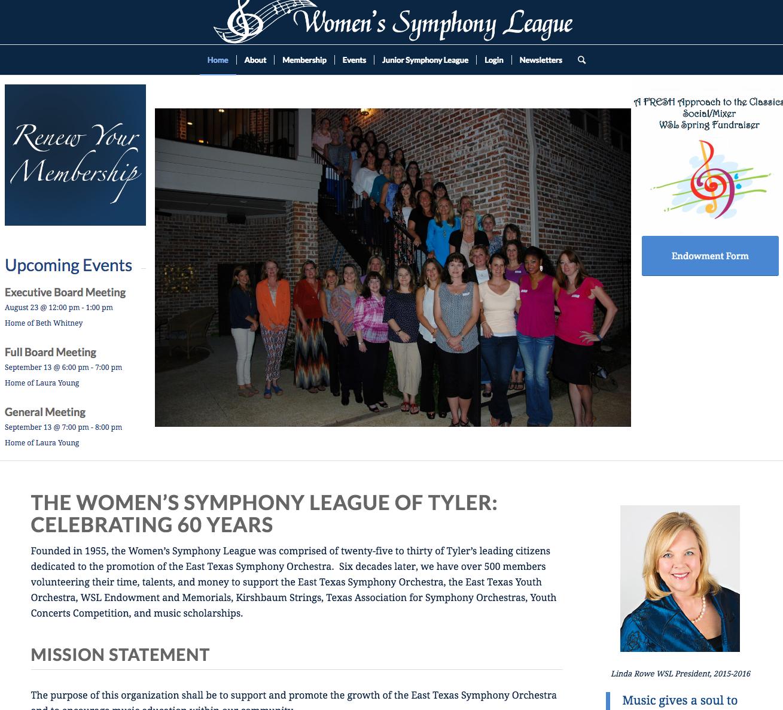 Women's Symphony League Website Design in Tyler
