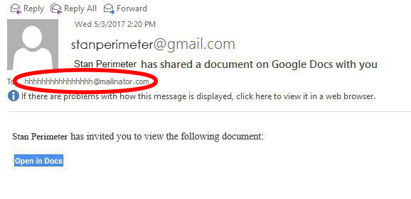 Google Docs Phishing Scam Example 2